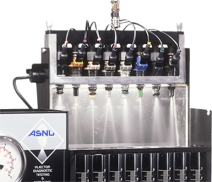 Picture shows Asnu injector cleaning machine